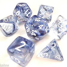 Chessex Dice Poly - Nebula Black - Set of 7 - 27408 - Free Bag! DnD