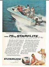 Vintage 1959 Evinrude Outboard Motor Starflite II 75 Original Magazine Print Ad