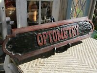 Vintage Optometrist Sign Optometry Hand Carved Wood MCM