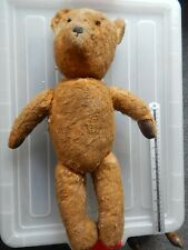 """Well LOved Vintage Jointed Straw Filled Teddy Bear 20"""""""