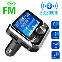 1.8 inch LCD Wireless Car Bluetooth FM Transmitter Aux 2 USB Charger Hands-Free