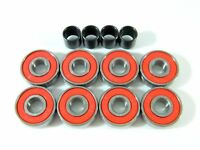 Cal 7 Skateboard Roller Skate Bearings 8 pieces 4 Spacers Abec-7 Red