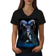 Wellcoda Goat Metal Creepy Womens V-Neck T-shirt, Animal Graphic Design Tee