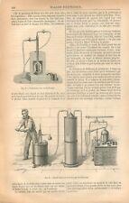 Chalumeau à Gaz à air  Oxy Oxygène Hydrogène de Schlaesing GRAVURE PRINT 1869
