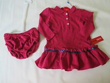 NWT girl's size 24mo. IZOD raspberry mesh cotton long sleeve polo dress FREESHIP