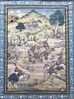 Large Indian or Persian ? Painting On Fabric Hunting Battle Scene Silk India