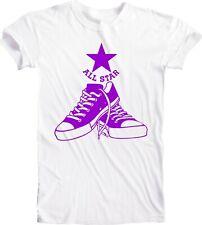 Converse Look Men's Clothing White Tee T-Shirt Handmade Vintage Purple Fan Sport