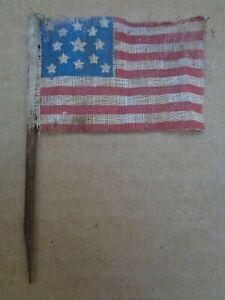 "Antique 2""x3"" 1876 13 Star Muslin Centennial American US Parade Tiny Stick Flag"