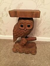 Hand Carved Wooden Owl Table/Stand