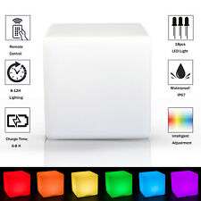 HOMCOM LED Glowing Cube 16 RGB Colours Rechargeable Remote Controll Patio Party