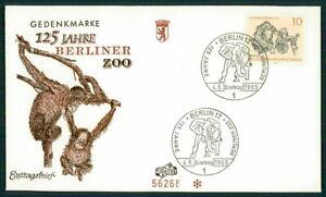 GERMANY FDC 1969 BERLIN ZOO ANIMALS ELEFANT ORANG-UTAN ff71