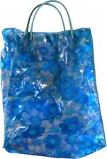 Floral Graphic Printed Vintage TOTE BAG Tall Plastic Hippie Boho Beach Bag 1970s