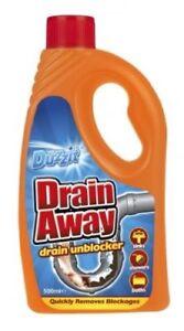 Duzzit Drain Away Liquid Unblocker Kitchen Sink Shower Bath Blockage Remover NEW