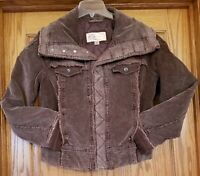 Big Chill Jacket Youth XL Brown Corduroy Snap Front Button Collar Fold Up Cuffs