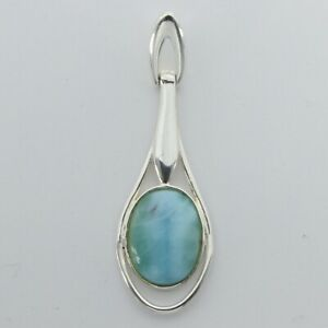 Caribbean Blue LARIMAR Oval Pendant - 925 STERLING SILVER #695