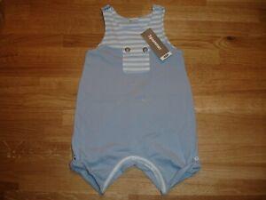 BNWT 3 Pommes Designer Boy's Short Romper Playsuit Blue/White - Age3-6mths