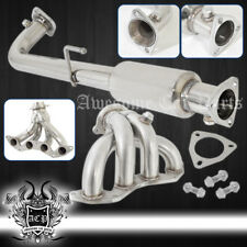 01-05 Civic Ex 1.7L 4-2-1 2Pcs Stailess Steel Exhaust Header Manifold + Downpipe