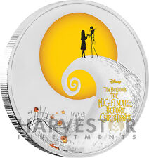 DISNEY - TIM BURTON - THE NIGHTMARE BEFORE CHRISTMAS - 1 OZ. SILVER COIN - OGP