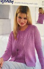 "Wendy Ladies Knitting Pattern Cardigan & Short Sleeve Jumper DK Size 30/44"""