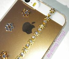 GOLD FLOWERS Crystal Bling Clear Back Case for iPhone 5 5S w/Swarovski Elements