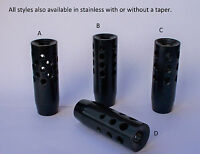 BLUED OR STAINLESS STEEL MUZZLE BRAKES 1/2 INCH THREADS