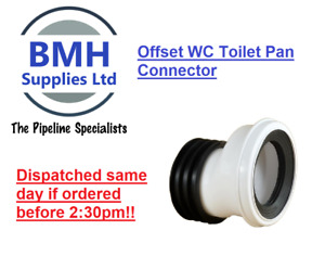 WHITE SOIL PIPE WC TOILET OFFSET WASTE PAN CONNECTOR. FREE DELIVERY!!