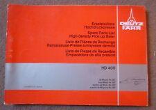 Deutz Fahr Hochdruckpresse HD400 Ersatzteilliste