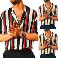 Men Striped Button Shirts Retro Casual Beach Short Sleeve T-Shirt Blouse Top Tee