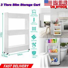 Shelves Slim Slide 3 Tier Storage Tower Rack Kitchen Organizer Laundry Room Home