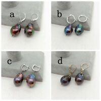 22MM  Black Keshi Baroque Freshwater Pearl Earrings