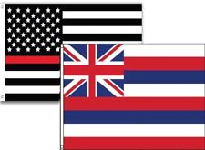 3x5 Usa Thin Red Line Hawaii State 2 Pack Flag Wholesale Set Combo 3'x5'
