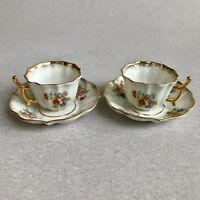 LIMOGES CASTEL Porcelain Coffee Cup & Saucer Set Floral Handpainted MINIATURES