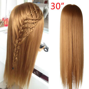 AU 100% Human Fake Hair Mannequin Head Hairdressing Model Stand with Free Clamp