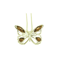 Sterling Silver Amber Butterfly Pendant & Chain.
