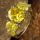 Delicate Party Oval Cut Citrine Gemstones Silver Rings Size 6 7 8 9 10 11 12 13