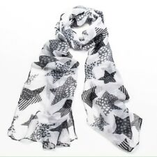 NWT Black & White Patterned Star Print Poly Cotton Cute Light Scarf