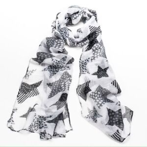 Black & White Star Print Boho Scarf / Headscarf / Hijab / Face Covering / Neck