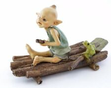 Garden Pixie Rowing Raft with Frog  TO 4643 Miniature Fairy Garden