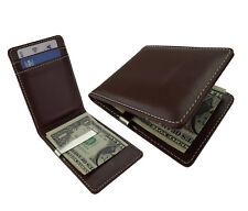 UK Brown Money Clip Slim Wallet Faux Leather Silver Steel Card Holder