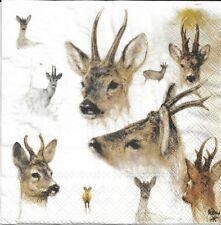 2 Serviettes en papier Cerf Decoupage Paper Napkins Portraits of Deer