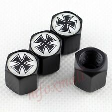 4X Black Car Accessories Tyre Tire Valve Caps Wheel Air Cover Trim Badge Cross