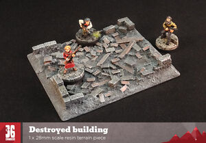 Destroyed Building - 28mm scale resin terrain piece