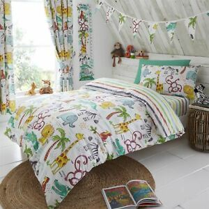 HLC Kids Jungle Animals Reversible Duvet Cover Curtains Bunting Height Chart