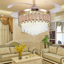 """42"""" Luxury Crystal Invisible Ceiling Fan Lamp Remote Control Led Chandelier Gold"""