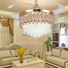 "42"" Luxury Crystal Invisible Ceiling Fan Lamp Remote Control LED Chandelier Gold"