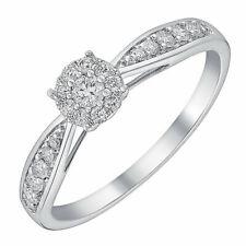 Ernest Jones 9 Carat White Gold 0.33 Carat Diamond Cluster  Ring Size L 1.9g