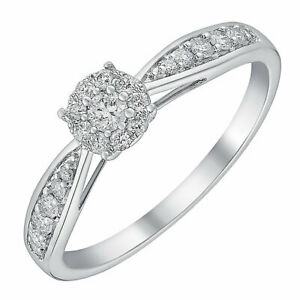 Ernest Jones 9 Carat White Gold 0.50 Carat Diamond Ring Size K 2.1g  RRP £1299