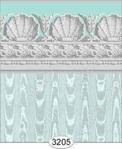 Dollhouse Halfscale Wallpaper - Jolie Moire Aqua Blue