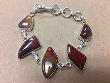 NEW 925 Sterling Silver w. Nature Jasper Gemstone Bracelet 6 3/4  - 8