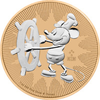 Nieu 2017 $2 Steamboat Willie Mickey Mouse 1 Oz Rose Gold Coin
